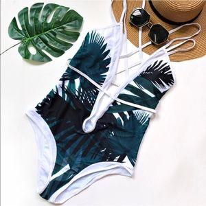 LA Deep Plunge Leaf Monokini